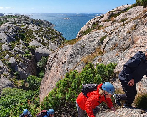 Next  A comfortable, yet challenging,adventure for all ages. Scrambling in nature typical to Bohuslän takes you to thesummitand a greatview on this (family-friendly) 4 hours tour. Whether you have previous experience of (indor/outdoor) climbing, or none, this is a tour for everyone thatprefer team effort and pleasure over performance. After an outdoor lunch break you will get an introduction to top rope belayedclimbing.  https://www.outdoorwest.se/en_GB/bookclimbing