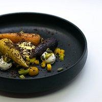Vegetarisch met gepofte wortel