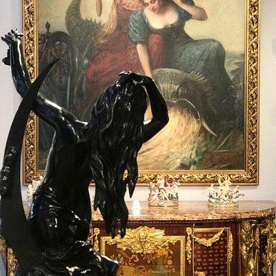 Paiting, meissen porcelain and bronze scultpure