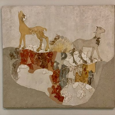 Mature Late Cycladic I period (17th c BC): Wall-painting of quadrupeds Akrotiri