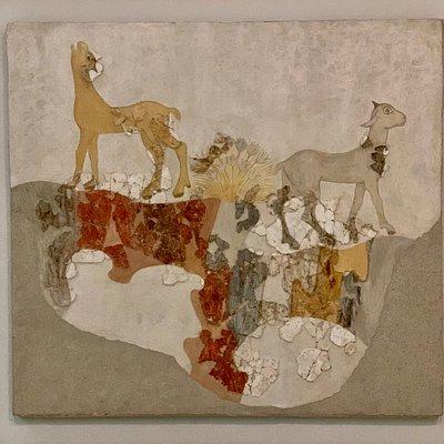 Mature Late Cycladic I period (17th c BC): Wall-painting of quadrupeds Akrotiri