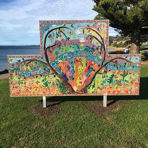 The 3-D tactile mosaic is 70 metres from the iconic big penguin along the foreshore esplanade. It's a stunning landscape rich in colour and imagery offering love, peace, and hope.