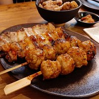 Meatball and pork belly skewers
