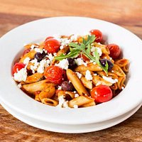 Pasta Pancetta - penne with bacon, feta, olives and tomatoes