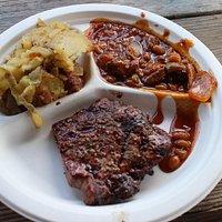steak, potatoes and beans