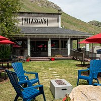 The patio at Miazga's is a great place to enjoy outdoor dining in Jackson Hole!