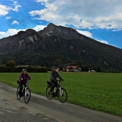 Riding ebikes under the Untersberg.