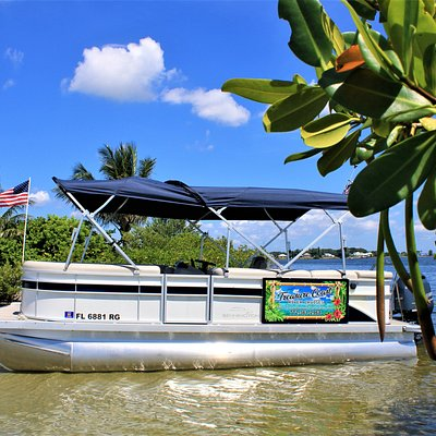 Our clean, comfortable, canopied pontoon is perfect for exploring  a sandbar or cruising the waterways!  Anchor up on the sandbar, enjoy a Stuart sunset, celebrate a special occasion, or just cruise the ICW for fun with family and friends.   The best part is all of our cruises are private; your group is always the only group on the boat!