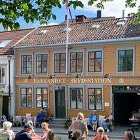 Outdoor view. Enjoy food and beverage at historical Bakklandet