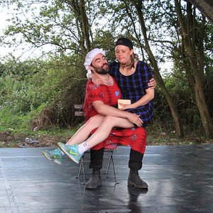 Professional theatre troupe, The Wet Mariners, performing in August 2019 at The Arches Theatre - a quirky open-air theatre venue in Clifton Reynes, near Olney, Buckinghamshire
