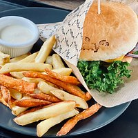 Burger with fries and mayo