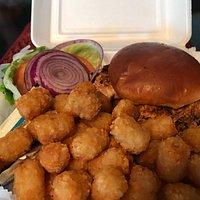 Cajun chicken sandwich with tots