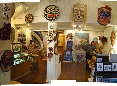 Interior of Eagle Feather Gallery, First Nations Artists owned. Custom orders and shipping available.