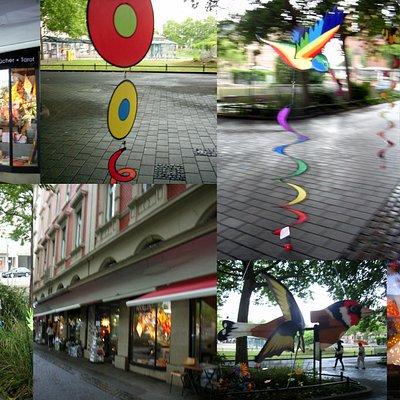 Collage: Merlin`s Spiel und Fachgeschäft, in Wiesbaden...