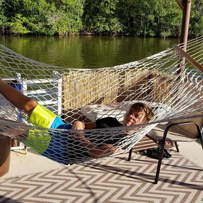 Relax in a hammock on a boat!