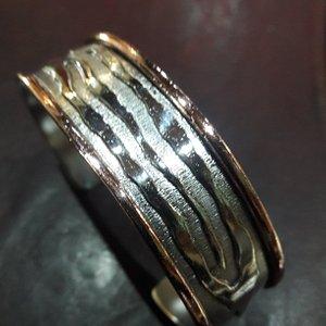 Hand crafted unique guff bracelet fine silver and copper