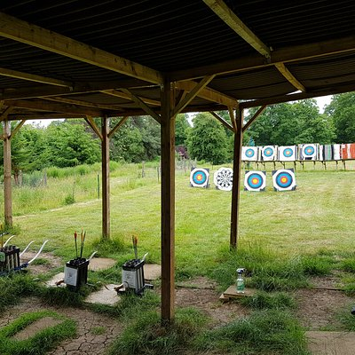 sheltered shooting line and waiting area