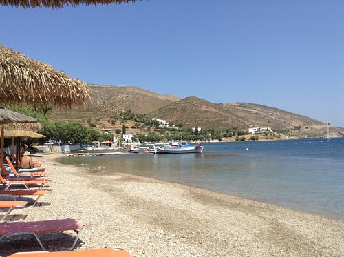 Peaceful Xirokampos, great views and lovely swimming. Lunch at Aloni Taverna directly behind these sun beds is a treat not to be missed.