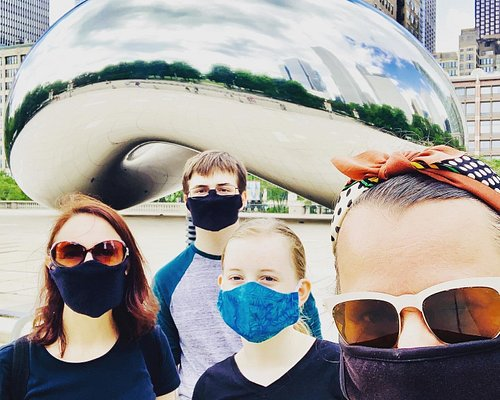 Safety first - private tours are back, with face coverings and hand sanitizer for everyone. Picture taken at Millennium Park