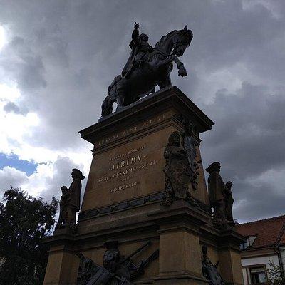 Jiri z Podebrad statue, a Jiri z Podebrad square