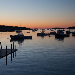 Sunset on the docks at Greenhead Lobster