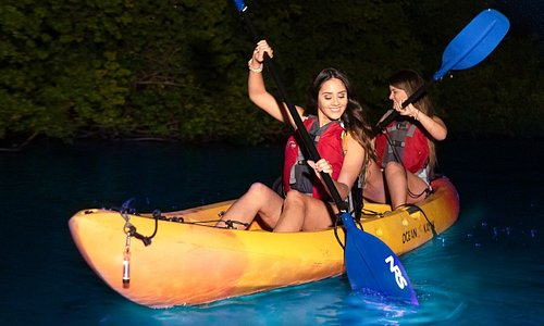 Paddles leave behind a swirl of blue light as you join us a mystical kayaking expedition!