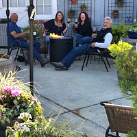 Wine tasting in our cozy garden courtyard!