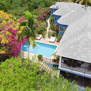 Aerial Shot of The Blue House Boutique B&B in Ocho Rios Jamaica