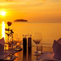 tasty dinner with the beautiful sunset.