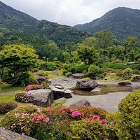 Japanese garden and the mountains