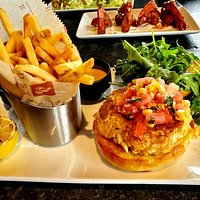 Redstone Crab Cake Sandwich along with Crispy Fries.