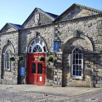 Early morning view of our Market Hall home, 10 minutes before opening time on a typically sunny North Yorkshire day.