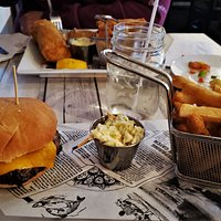 Burger, fries, and fish and chips