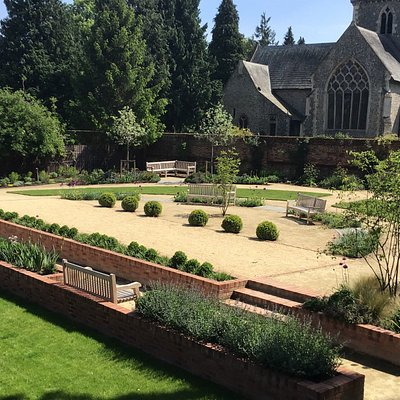 This is an overview of the Crinkle Crankle Garden - it shows the Boules Court that is open to the public to play
