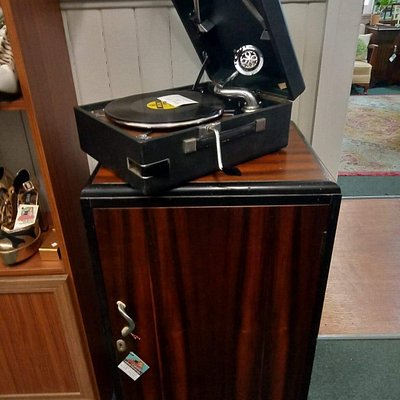 One of our vintage Gramaphones and record cabinet