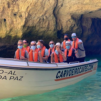 CarvoeiroCaves ® boats departing from carvoeiro Beach, all safety measures have been met to safely take our guests on the ride throught the Benagil Caves..