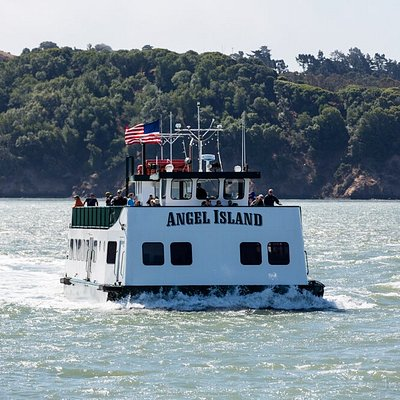 """The ferry """"Angel Island"""" was designed by Milton McDonogh, 3rd generation owner/operator. She is a unique vessel that is flat bottomed and can hold 400 passengers."""