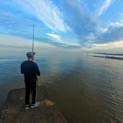 Lone fisherman - Sidmouth Beach (07/Aug/20).