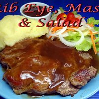 Rib Eye Steak with Fries or Mash and a Fresh Garden Salad.