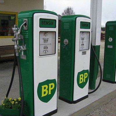 Retro petrol pumps.