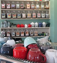 Selection of teas at at Sidamo Coffee and Tea in Maple Lawn, Fulton, Maryland