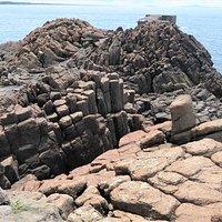 椿海岸では柱状節理の上にも登れます