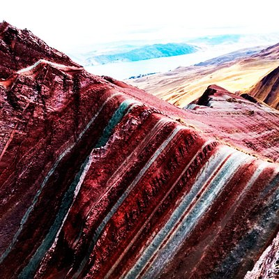 Pallay Poncho or Pallay Punchu Apu Tacllo is a new attraction of the Rainbow Mountain in Cuzco Peru.