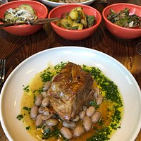 The incredible slow cooked lamb with beans and seasonal sides