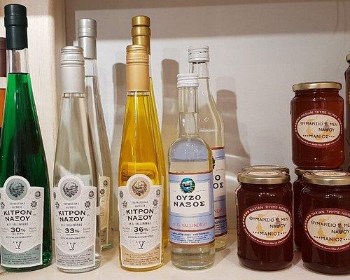 local citrus liquors and pure, Greek honey on sale.