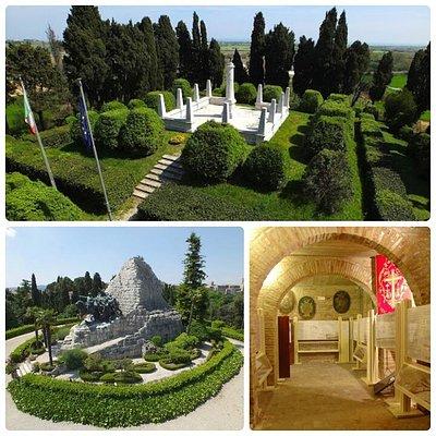 I luoghi del Museo diffuso nel territorio. In alto l'Ossario-Sacrario, a sinistra il Monumento Nazionale delle Marche, a destra una delle sale del Museo del Risorgimento.
