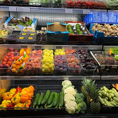 Fresh fruits and vegetables, gluten and dairy free products, oils, daily needs.