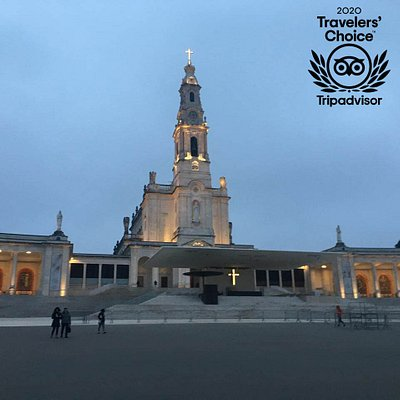 Basilica of Our Lady of the Rosary of Fatima at sunset before Candle Procession