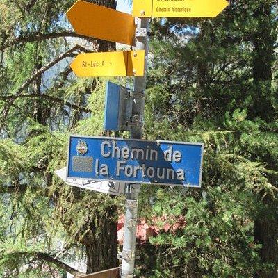 Grand Bisse de St-Luc - panneau indicateur pour la route du Grand Bisse juste au-dessus du village.