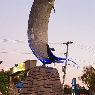 Giant Muskie Fish. Outside the Ramada Hotel as you enter town